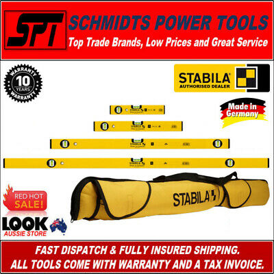 STABILA SPIRIT LEVEL SET 4 PCE 300 600 1200mm & 2m TYPE 70 & 70-2 & 6 POCKET BAG