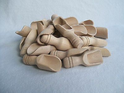 10, 25, 100 Small Wooden Scoop Sugar, Salt, Flour, Bath Salt, Milk  7.5 cm  3""