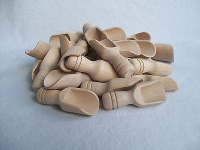 10,25,100,250 Small Wooden Scoop Sugar, Salt, Flour, Bath Salt, Milk  7.5 cm  3""
