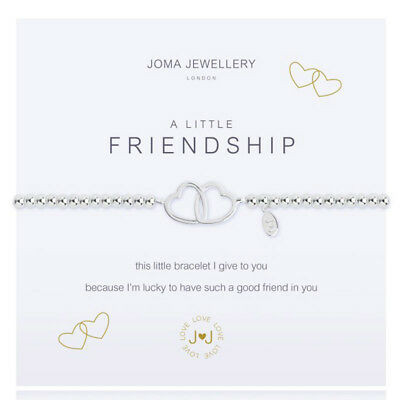 Joma Jewellery A Little Friendship Silver Plated Bracelet 2 Hearts + Gift Bag