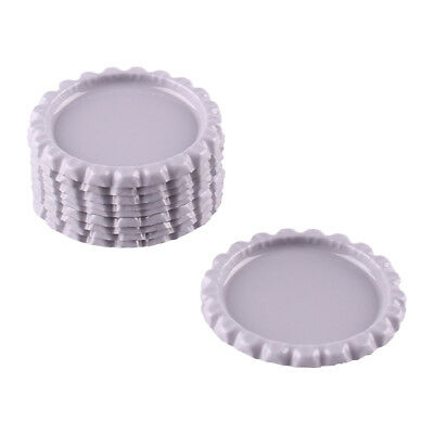 """10pcs White Gray Flat Double Sided Colored 1"""" Bottle Caps Hair Crafts"""