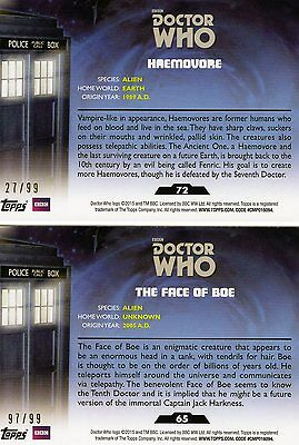 2 Topps Doctor Dr. Who Trading Card Parallels 27/ 99 und 97/99! Rar!