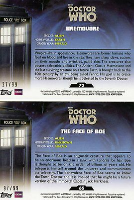 2 Topps Doctor Who Trading Card Parallels 27/ 99 und 97/99! Rar!