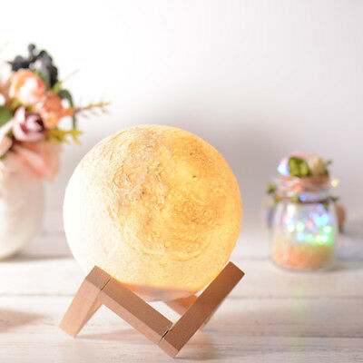 3D Magical LED Luna Moon Lamp Decor Night Light Gift Touch 3-Color Switch HS989