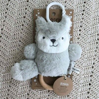 NEW O.B Designs Dingaring Ross Fox (Silver) - Baby Wooden Teething Rattle Toy OB