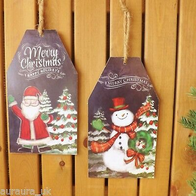 Black Merry Christmas Giant Tag Plaque Decoration Santa or Snowman Wooden Sign