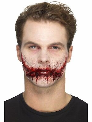 Stitched Smile Halloween Fake Prosthetic Latex Scar Fancy Dress Zombie Make Up