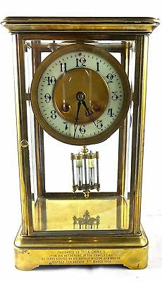 Antique French 19th c 4 glass crystal regulator 8 day striking mantel clock