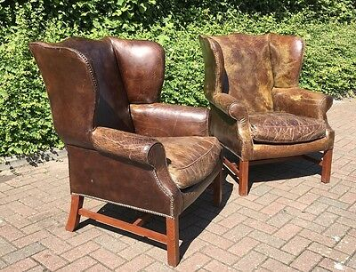 The Most Amazing Pair Of Country House Brown Leather Library Armchairs. Offers?