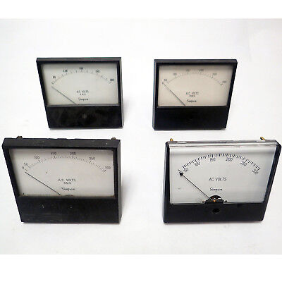 Lot Of 4 Simpson Panel Meter 0-300 Volts Ac Rms (3), 0-300 Volts Ac (1)