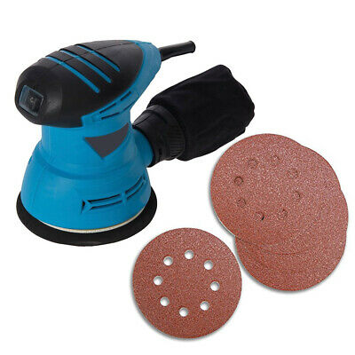 125Mm Random Orbit Palm Orbital Sander 240W + 22 Assorted Grit Sanding Discs