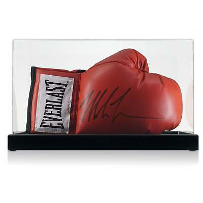 Mike Tyson Signed Red Everlast Boxing Glove Autographed Memorabilia Case
