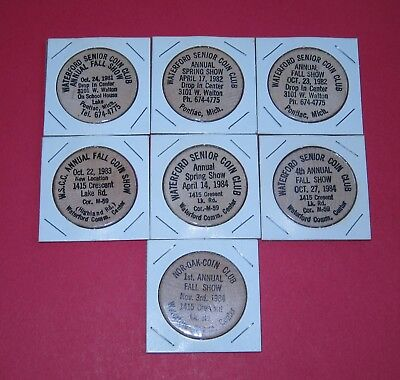 7 vintage wooden nickels - Waterford Michigan coin shows - 1980's all different