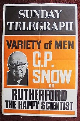 1960s/70s SUNDAY TELEGRAPH newsagents poster C P SNOW on RUTHERFORD (scientist)