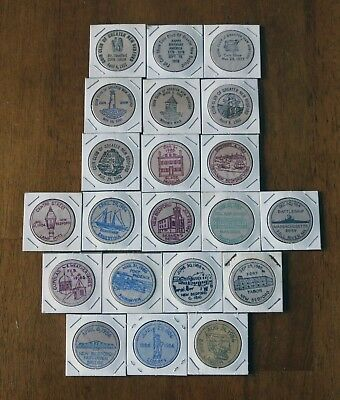 21 vintage wooden nickels - Coin Club of New Bedford, MA - 1971 to 1986