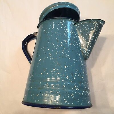 "Vtg Blue White Spatterware Enamel On Tin 7"" Coffee Pot"