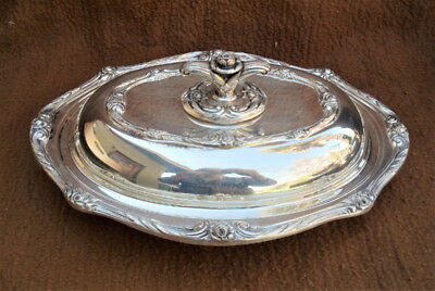 Vintage Ornate Rogers GLENROSE Silverplate Double Vegetable Bowl with Lid