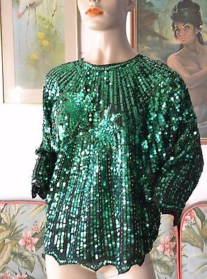 Vintage Emerald green sequins top size 12 to size 14