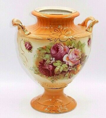 "Antique Victorian Floral Rose Orange Porcelain 11.5"" Decorative Urn / Vase"