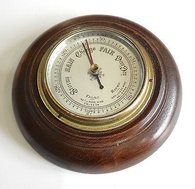 Vintage British Made Aneroid Barometer Oak Cased Silver Face Wall Mounted
