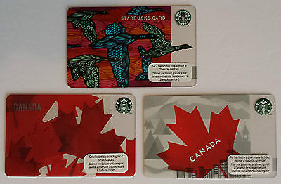 Starbucks NEW! Set of 3 Gift Cards Canada/Bilingual Maple Leaf Geese No $ value