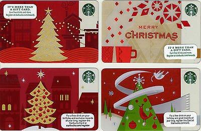 Starbucks Christmas Theme NEW! Set of 4 Gift Cards No $ Value