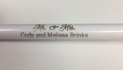 Custom Wedding Click Pens White & Gold (50) Best Wishes to the New Mr. & Mrs!!