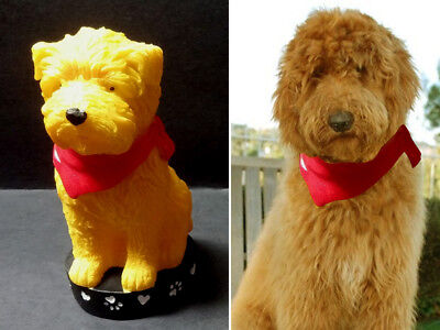 YELLOW DOG Figurine, Painted Resin Gift Pet Lovers GOLDENDOODLE