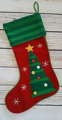 Crate Barrel Christmas Stocking With Tree Wool Felt Red Green White Yellow