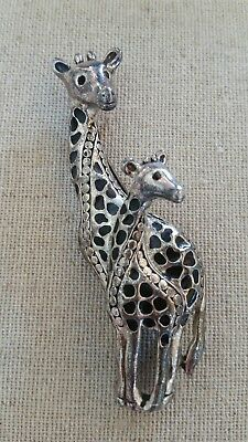 Vintage giraffe with baby distressed silvertone brooch pin unsigned safari