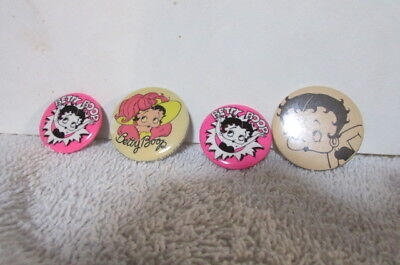 Collection Of 4 Vintage Betty Boop Pin Back Buttons