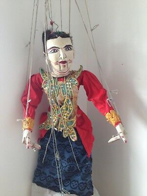 Vintage Oriental marionette, Japan? Indonesia? real human hair, moving mouth