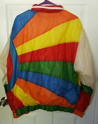 Vintage 70's 80's Rainbow Jacket Hooded Bright Hempel Denmark Sz Mens Medium