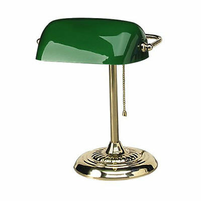 Alera LMP557AB 14 in. Traditional Incandescent Banker's Lamp (Green) New