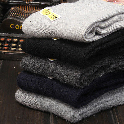 1 Pairs Men Wool Cashmere Thick Warm Soft Solid Casual Sports Socks Winter