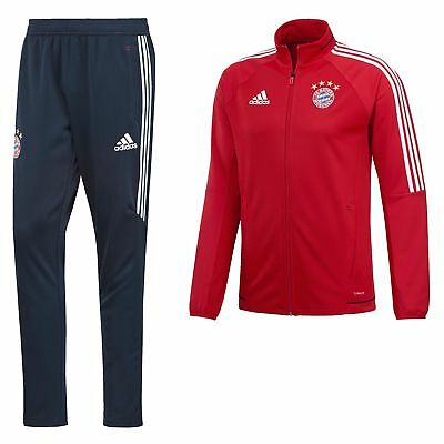 adidas Mens Gents Football Bayern Munich Official Training Tracksuit Red
