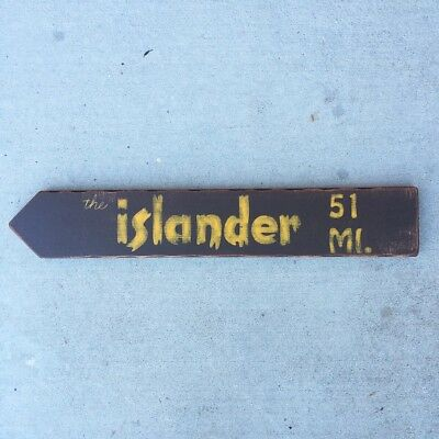 Islander Tiki Bar Directional Arrow Sign Los Angeles California Room Decor
