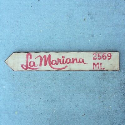 La Mariana Tiki Bar Directional Arrow Sign Honolulu Hawaii Room Decor Mileage