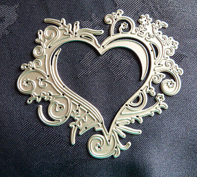 Valentine Floral Swirl Heart / Metal cutting Die~1 in pack. See description