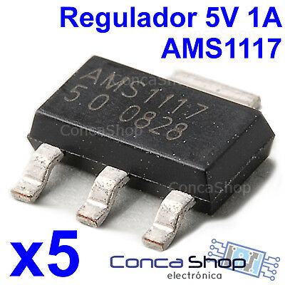 5 X Ams1117 5V 1A Regulador Tension Smd Sot-223 Montaje Superficie - España