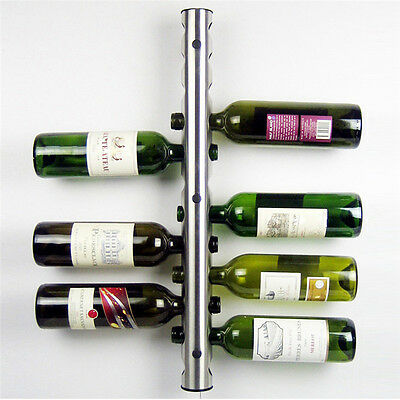 Stainless steel 12 Hole Bottle Wine Rack Bar Kitchen Wall Mounted Holder Stand