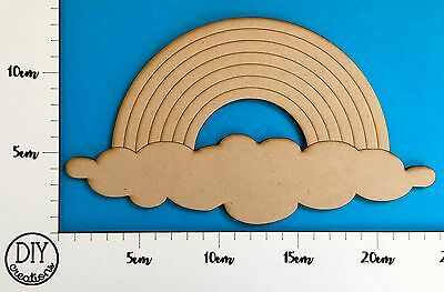 MDF Rainbow with Cloud - Wooden Craft Shape - DIY Decor for Adults and Kids