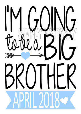 Iron On Transfer - I'm Going To Be A Big Brother Boho Arrow Blue Love Heart