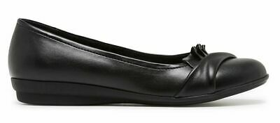Grosby Evie Black Closed Toe Wedges Wedge Womens Work Casual Shoes Ladies Flats