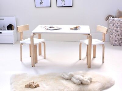 Hip Kids Clio White Poplar Ply Wood Table and 2 Chairs Set Children Toddler
