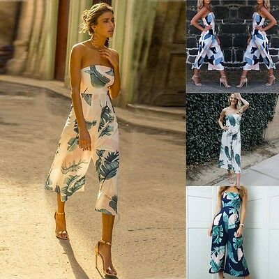 AU Womens Floral Sleeveless Off Shoulder Rompers Summer Casual Party Jumpsuit