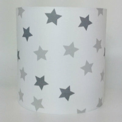 Multi Grey and White Star Print, Medium Fabric Ceiling Shade