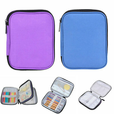 Double-deck Crochet Hooks Case Knitting Needles Accessories Zipper Bag Storage
