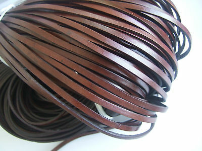Dark Brown 5mm Flat Real Genuine Leather Cord String Lace Thong Jewellery Making