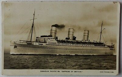 1937 King Edward Viii Stamp On Picture Post Card Of S. S. Empress Of Britain